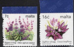 MALTA  Scott 1139-1140 self adhesive  Flower stamps from booklet