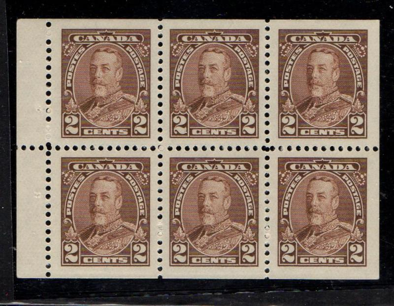 Canada Sc 218b 1935 2c brown G V Bklt pane of 6 mint NH