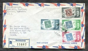 p826 - BARBADOS 1952 Registered Cover to Canada