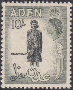 Aden 1953-59 MH Sc #60 10sh Tribesman Olive gray, black Variety