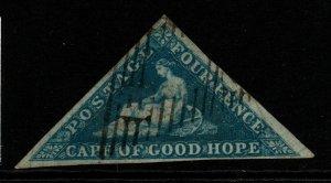 CAPE OF GOOD HOPE SG2 1853 4d DEEP BLUE USED