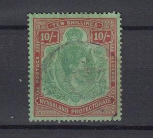 Nyasaland Protectorate KGVI 1938 10/- SG142 Fin Used JK5607