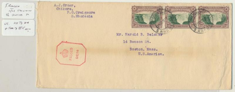 SOUTHERN RHODESIA 1943 CENSOR(DE/16)COVER TO USA 6d RATE (SEE BELOW)