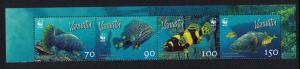 Vanuatu WWF Giant Grouper Strip of 4v SG#983 MI#1304-1307 SC#908
