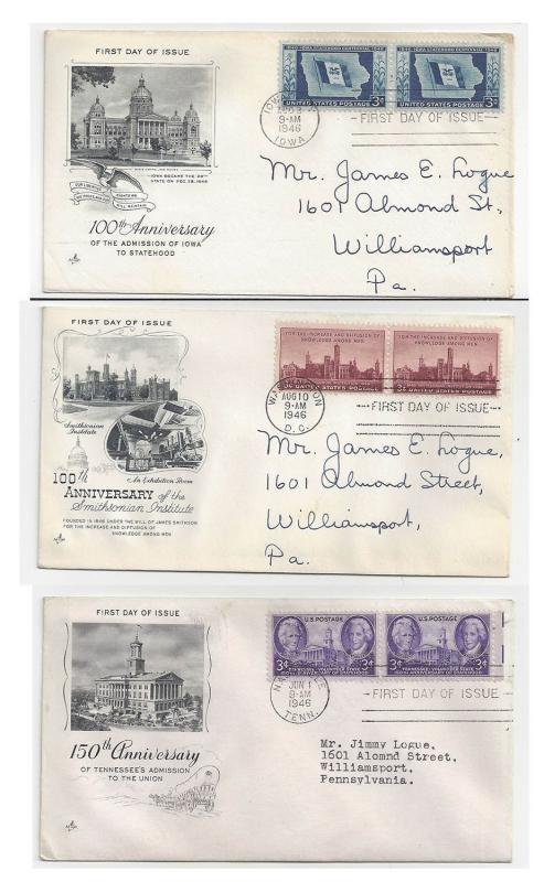 FDC Lot of 3 Sc 941 942 943 Art Craft Cachet First Day Cover