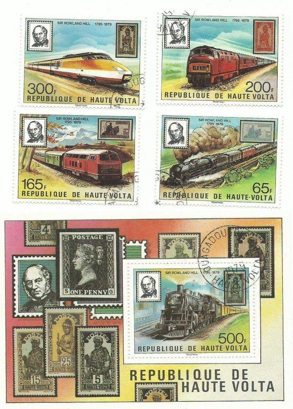 Burkina Faso 501-505 + SS   Trains   M NH VF  1979 PD