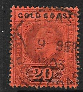 GOLD COAST SG48 1902 20/= PURPLE & BLACK ON RED USED