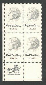 1731 Carl Sandburg Zip Block Mint/nh FREE SHIPPING