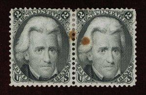 VERY AFFORDABLE GENUINE SCOTT #73 MINT OG H PAIR 1863 BLACK ANDREW JACKSON