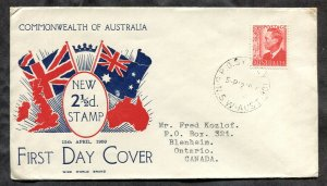 d232 - AUSTRALIA 1950 FDC Cover to Canada. 2½ Stamp. Flags Cachet. To Canada