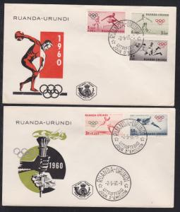 Ruanda Urundi # B26-30, Rome Summer Olympics, First Day Covers