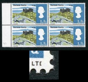 SG691a 1966 1/3 Landscapes with Broken D Variety Block of 4 U/M