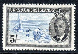 Turks & Caicos  1950   sg 232   5/-  value    LMM  cv £27--