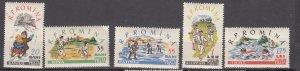 J27577 1960 romania set mh #1381-5 sports