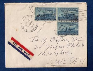 US Sc #958 Three Stamps Tied On A Cover to Sweden F-VF