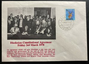 1978 Salisbury Southern Rhodesia First Day Cover FDC Constitutional Agreement