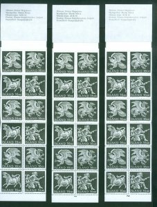 Iceland. 1988 3 Booklet Mnh. Guardian Spirits. Regular+Cylinder 1 + 2 .Sc# 659A.