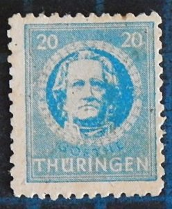 Germany, 20 Pf, Thuringia, 1945, J.W. Goethe, Soviet zone, rare (2422-T)