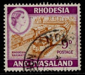 RHODESIA & NYASALAND QEII SG24a, 9d orange-brown & reddish violet, FINE USED.