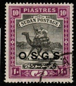 SUDAN SGO11 1912 10p BLACK & MAUVE FINE USED