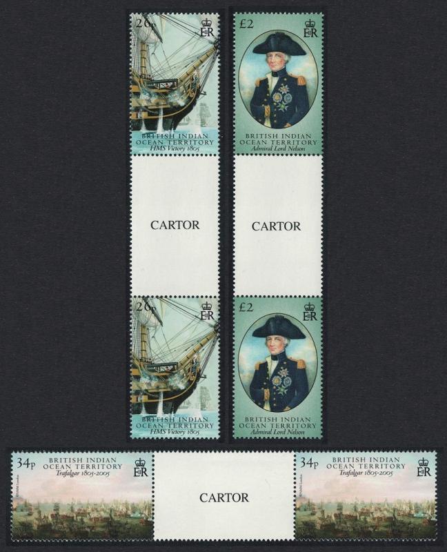 BIOT Battle of Trafalgar part 2 3v Gutter Pairs CARTOR SG#344-346
