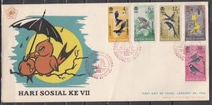 Indonesia, Scott cat. B160-B164. Various Birds issue. First day cover.