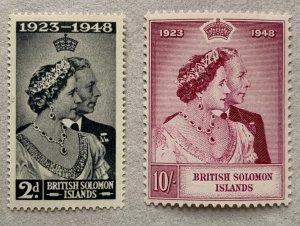 Solomon Islands 1948 Silver Wedding, unused.  Scott 82-83, CV $13.40. SG 75-76