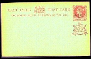 EAST INDIA Post Card  Black PUTTIALLA State ¼ Anna MNH
