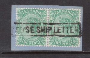 Tasmania #61 VF Used Pair On Piece With Ship Letter Cancel