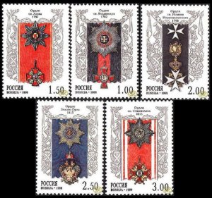 Russia 1999, Antique Old Orders of Russia, Scott # 6496-6500,VF MNH** (PT-14)