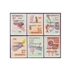 Nicaragua C553-C558,MNH.Michel 1366-1371. Olympics Tokyo-1964.Boxing,Tennis,