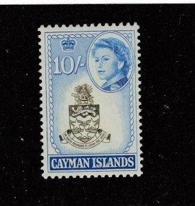 CAYMAN ISLANDS # 166 VF-MNH 10sh 1962  QEII / COAT OF ARMS CAT VALUE $23