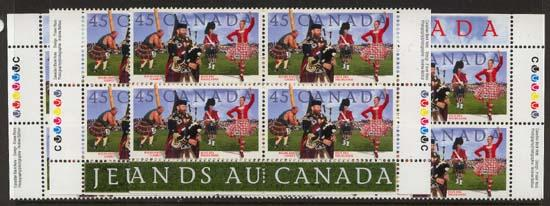 Canada #1655 Mint MS Imprint Blocks VF-NH Face Alone $7.20 - 1997 Highland Games