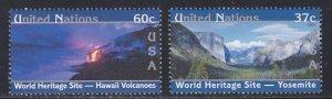United Nations - New York # 850-851, World Heritage - U.S., NH, 1/2 Cat.