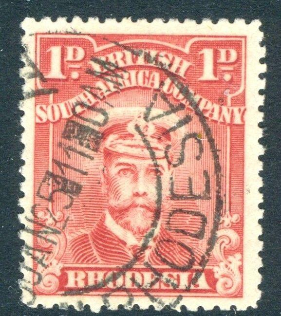 RHODESIA-1924 1d Aniline Red Sg 286 FINE USED V18593