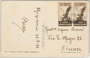 BIRDS Eagle -  -  POSTAL HISTORY - AOI Italian East Africa POSTCARD 1938 Balad
