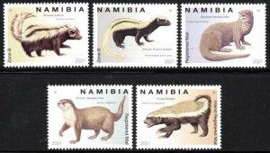 Namibia - 2021 Mustelids Otter Weasel Badger Polecat Set MNH**