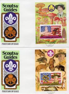 St.Vincent 1986 Sc#922/922A Scouts/Mushrooms/ Decorative Border 2 SS IMPERF.FDC
