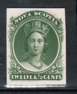 Nova Scotia #13TCv Very Fine Proof In Green India On Card