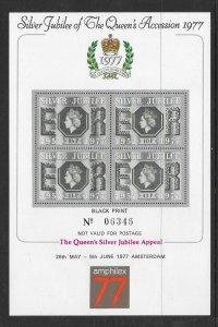 GB SG1033 SILVER JUBILEE BLACK PRINT - Miniature Sheet - AMPHILEX 77