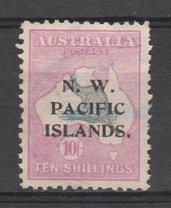 NWPI NEW GUINEA 1915 KANGAROO 10/- 1ST WMK TYPE A