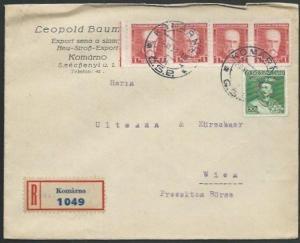 CZECHOSLOVAKIA 1932 REGISTERED cover Komarno to Vienna.....................61552