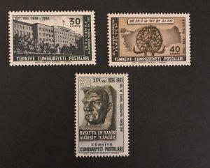 Turkey 1961 #1506-08, MNH, SCV $1.15
