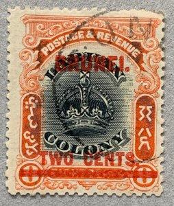Brunei 1906 2c on 8c Labuan Crown, used.  Scott 3, CV $80.00. SG 13