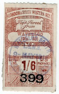 (I.B) London & South Western Railway : Paid Parcel 1/6d (Waterloo)