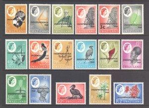 Swaziland Scott 143/159 - SG142/160, 1968 Independence Set MH*
