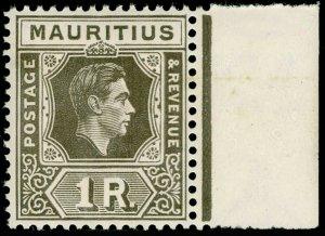 MAURITIUS SG260b, 1r grey-brown, NH MINT. Cat £20.