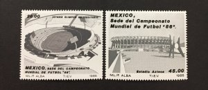Mexico 1985 #1424-5, '86 World Cup, MNH.