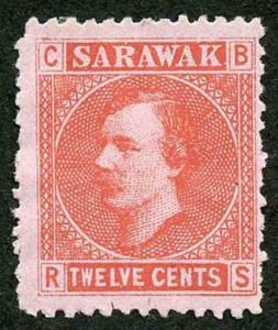 Sarawak SG7 8c red/pale rose (no gum as normal)