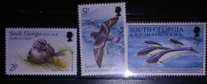 South Georgia and the south Sandwich Islands 3 stamps depicting the wildlife